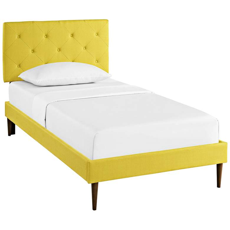 Terisa Sunny Fabric Twin Platform Bed w/ Round