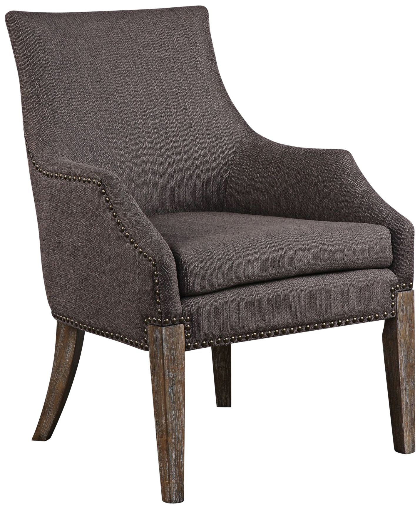 Uttermost Karson Taupe Gray Linen Fabric Accent Chair