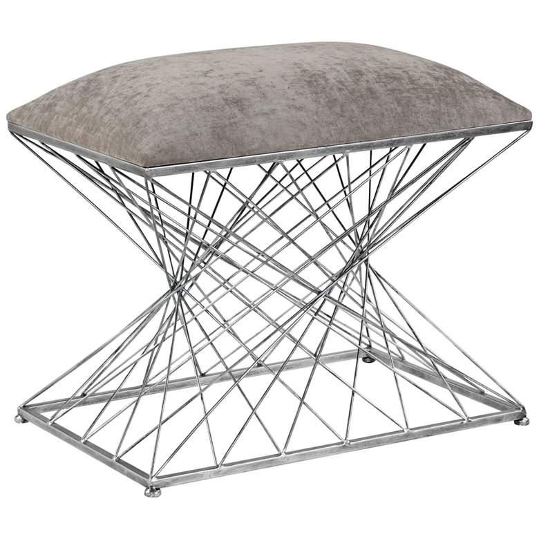 Uttermost Zelia Stony Gray Chenille Fabric Accent Stool