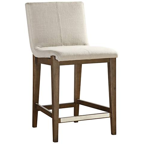 "Uttermost Klemens 26""H Neutral Linen Fabric Counter Stool"