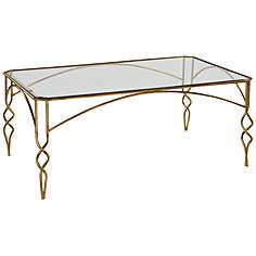 Uttermost Lora Glass Top and Antiqued Gold Leaf Coffee Table