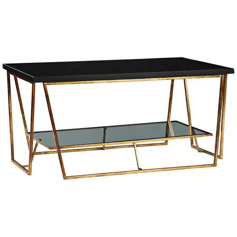 """Agnes 40"""" Wide Gold Leaf and Black Granite Coffee Table"""