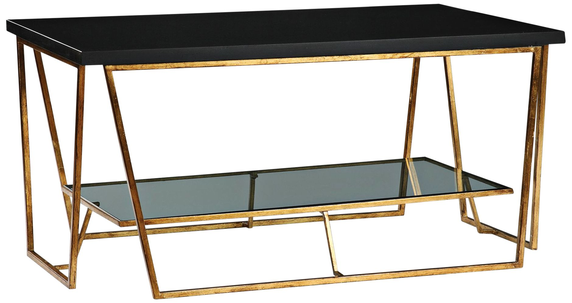 Agnes 40u0026quot; Wide Gold Leaf And Black Granite Coffee Table