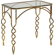 Uttermost Lora Glass Top and Antiqued Gold Leaf End Table