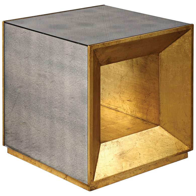 """Flair 20"""" Wide Gold and Mirror Modern Cube End Table"""