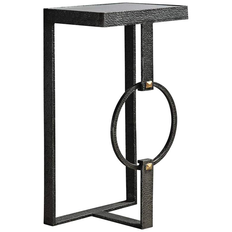 """Hagen 16"""" Wide Clear Glass and Burnished Steel"""