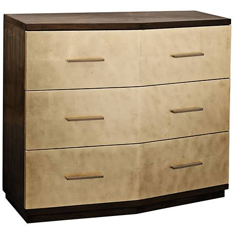 Verdura Warm Walnut and Gold Leaf 3-Drawer Accent Chest