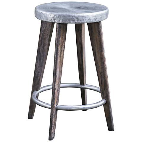 "Maxen 24 1/2""H Aged Pewter and Driftwood Gray Counter Stool"
