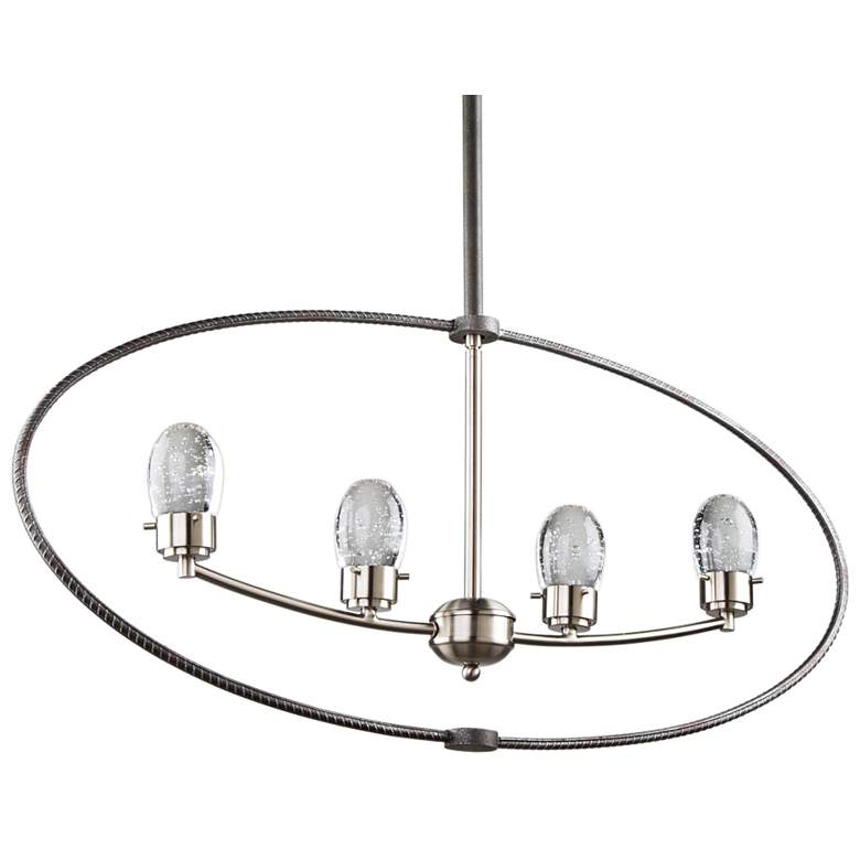 "Kingsford 36"" Wide Slate and Brushed Nickel 4-LED Pendant"