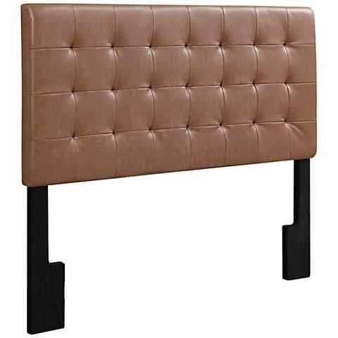 Cara Lummus Cognac Faux Leather Tufted Full/Queen Headboard