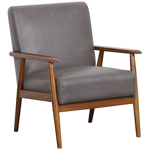 Rikker Lummus Gray Faux Leather Accent Chair