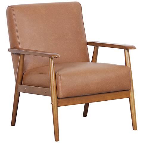 Rikker Lummus Cognac Faux Leather Accent Chair