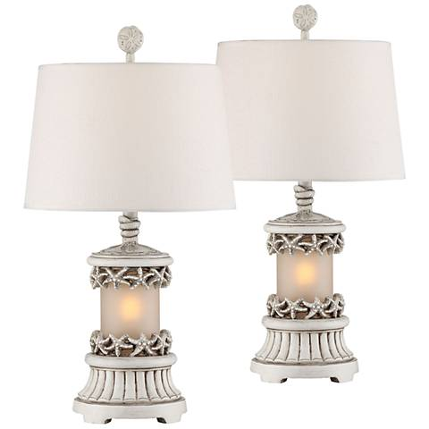 Dove Key Antique White Table Lamp with Night Light Set of 2