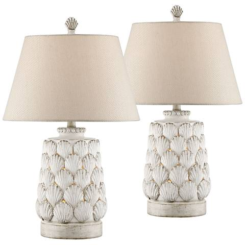Harbor Island White Night Light Table Lamps Set of 2
