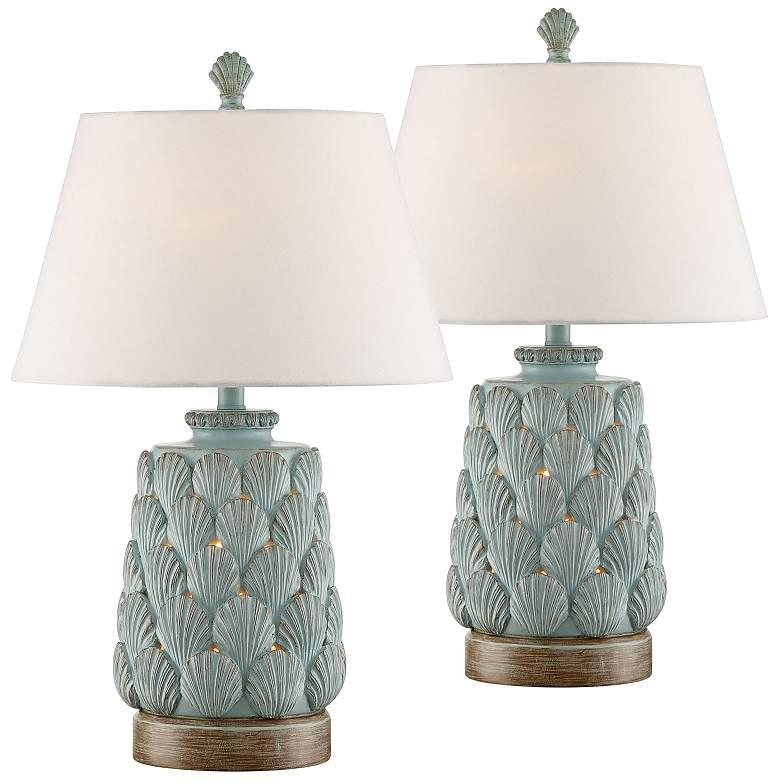 Harbor Island Blue Night Light Table Lamps Set