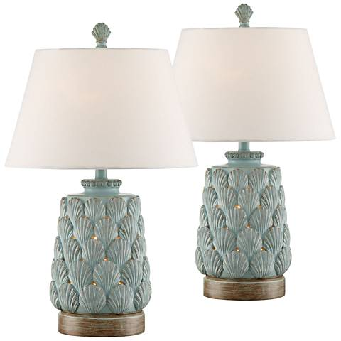 Harbor Island Blue Night Light Table Lamps Set of 2