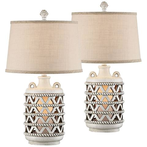 Baldwin Island White Night Light Table Lamps Set of 2