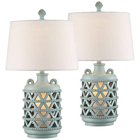 Baldwin Island Blue Table Lamp with Night Light Set of 2