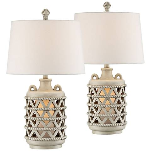 Baldwin Island Table Lamp with Night Light Set of 2