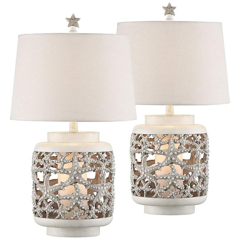 Hatteras Island Starfish Night Light Table Lamps Set of 2