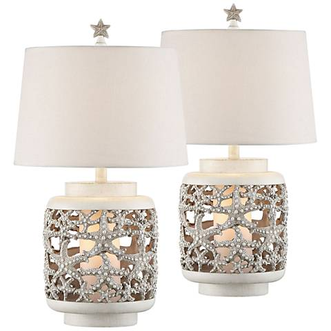 Hatteras Island White Table Lamp w/ Night Light Set of 2