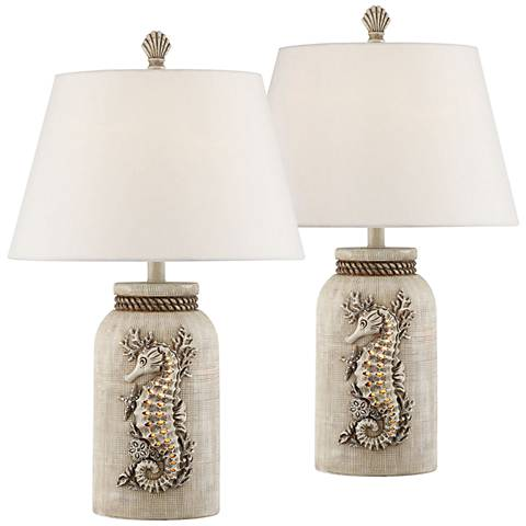 Adele Island Antique Table Lamp with Night Light Set of 2