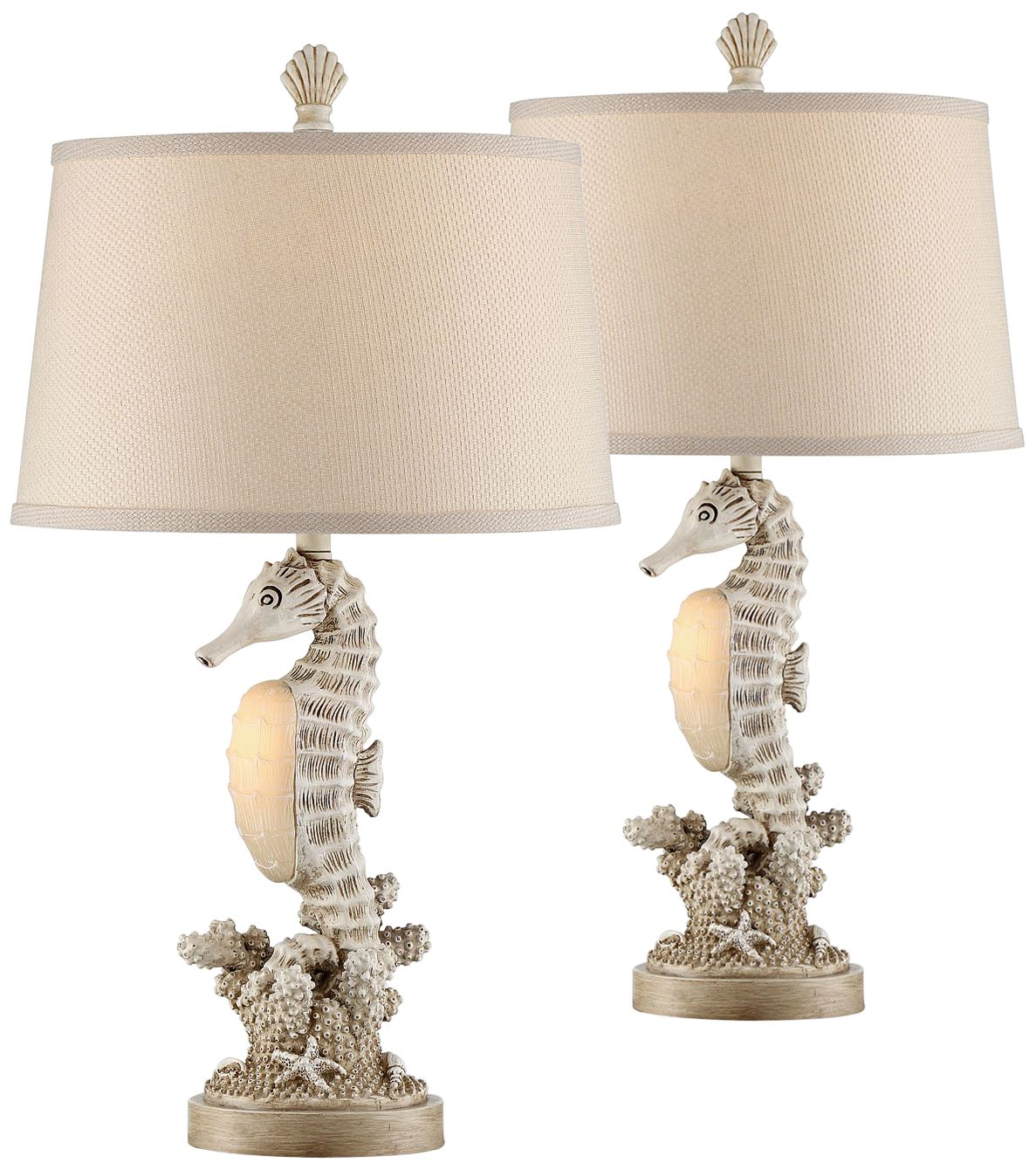 Gentil Seahorse Antique Night Light Table Lamps Set Of 2