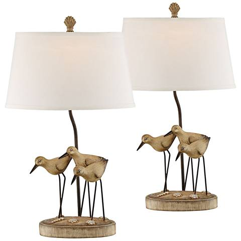 Trio Shore Birds Sandstone Table Lamps Set of 2
