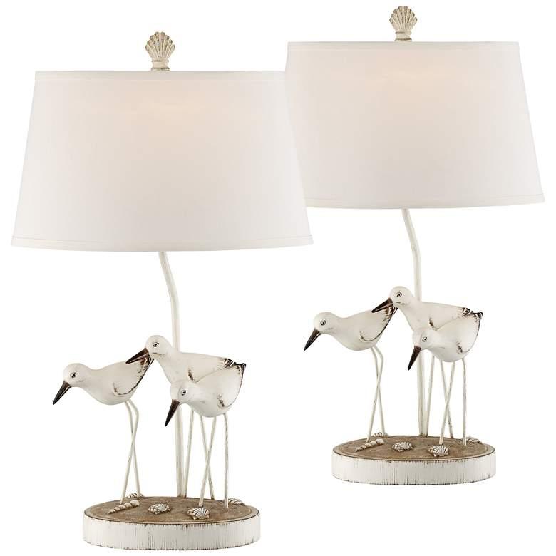 Trio Shore Birds Antique White Table Lamps Set of 2