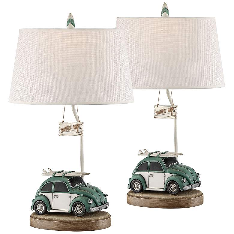 Let's Go Surfing Sky Blue and Ant White Table Lamp Set of 2