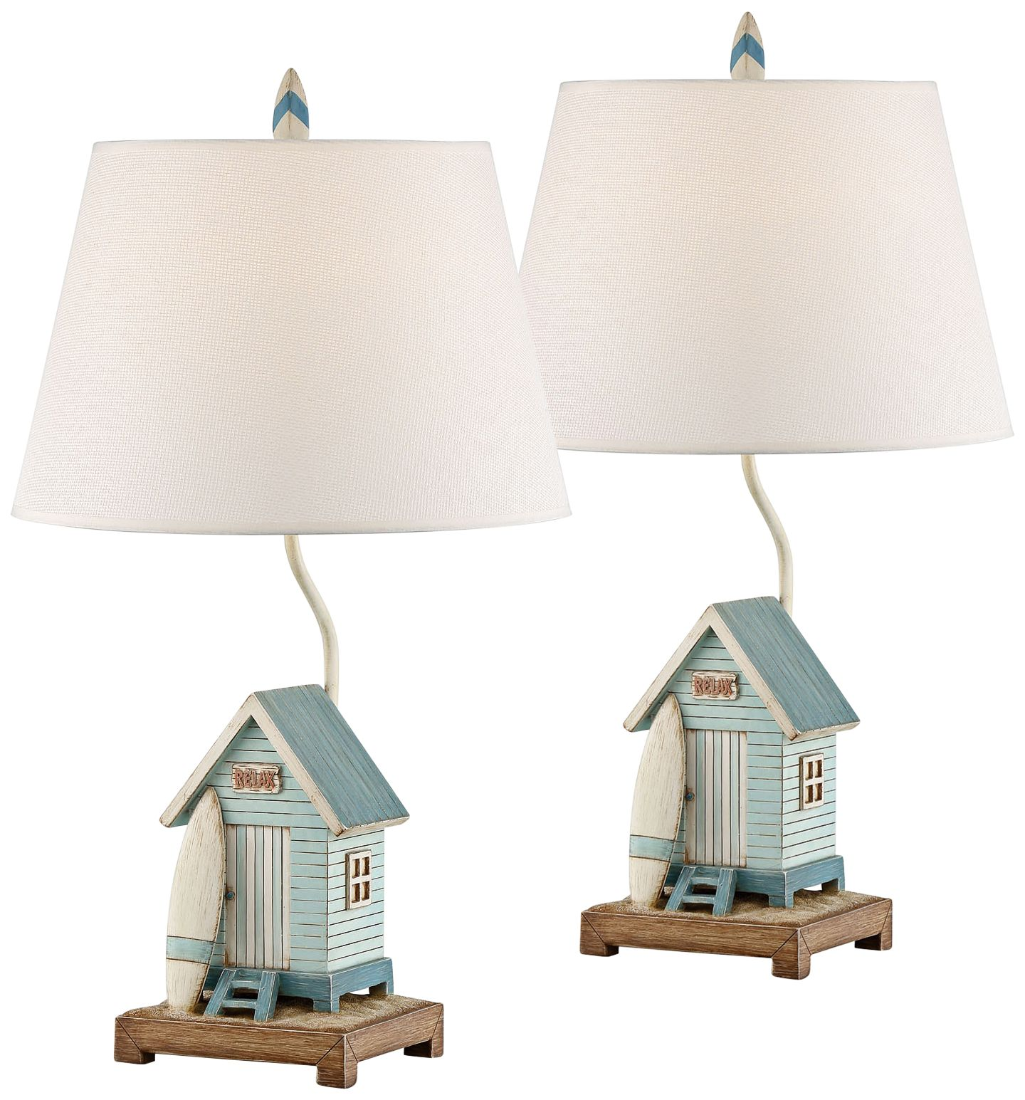 Relax At The Beach House Blue And White Table Lamp Set Of 2