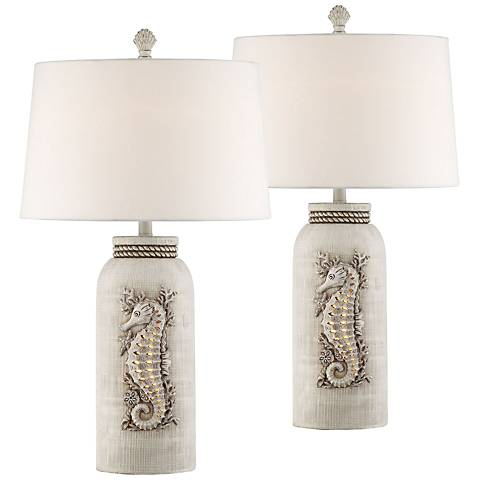 Beaufort Antique White Table Lamp with Night Light Set of 2