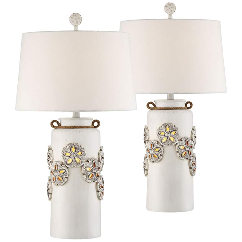 Harriet Island White Table Lamp w/ Night Light Set of 2