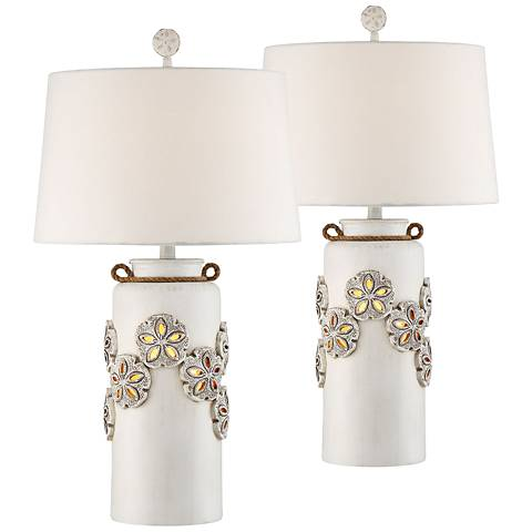 Harriet Island White Table Lamp w/ Night Light Set of 2