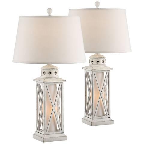 Galveston Island White Table Lamp w/ Night Light Set of 2