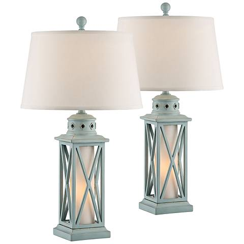 Galveston Island Blue Table Lamp w/ Night Light Set of 2