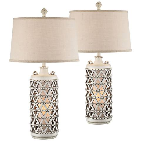 Oak Island Antique White Table w/ Lamp Night Light Set of 2
