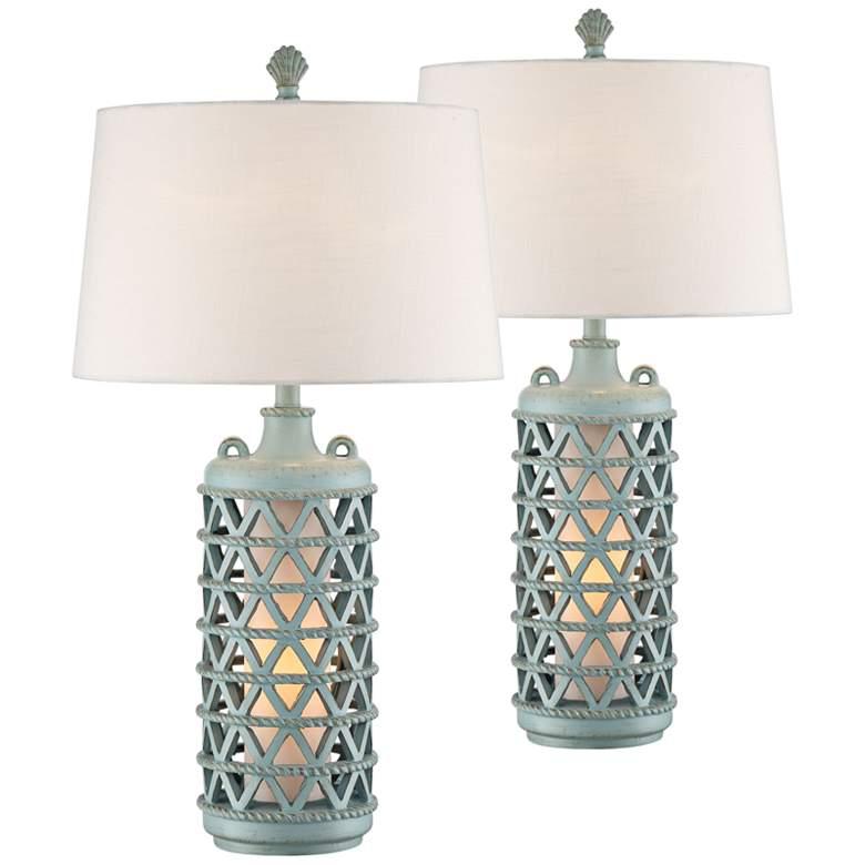 Oak Island Glacier Blue Night Light Table Lamps