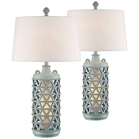 Oak Island Glacier Blue Night Light Table Lamps Set of 2