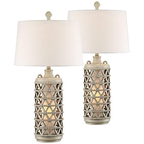 Oak Island Misty Haze Night Light Table Lamps Set of 2