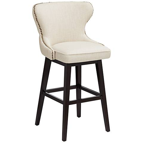 "Ariana Sand Fabric 29 1/2"" Tufted Swivel Bar Stool"