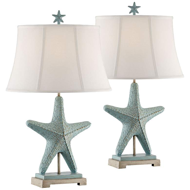 Glacier Blue Starfish Table Lamps Set of 2