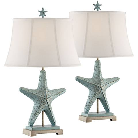 Starfish Glacier Blue Table Lamps Set of 2