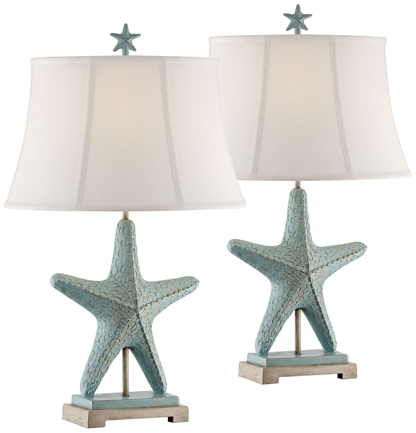 Charmant Starfish Glacier Blue Table Lamps Set Of 2