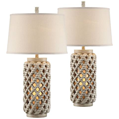 Edisto Island Table Lamps with Night Lights Set of 2