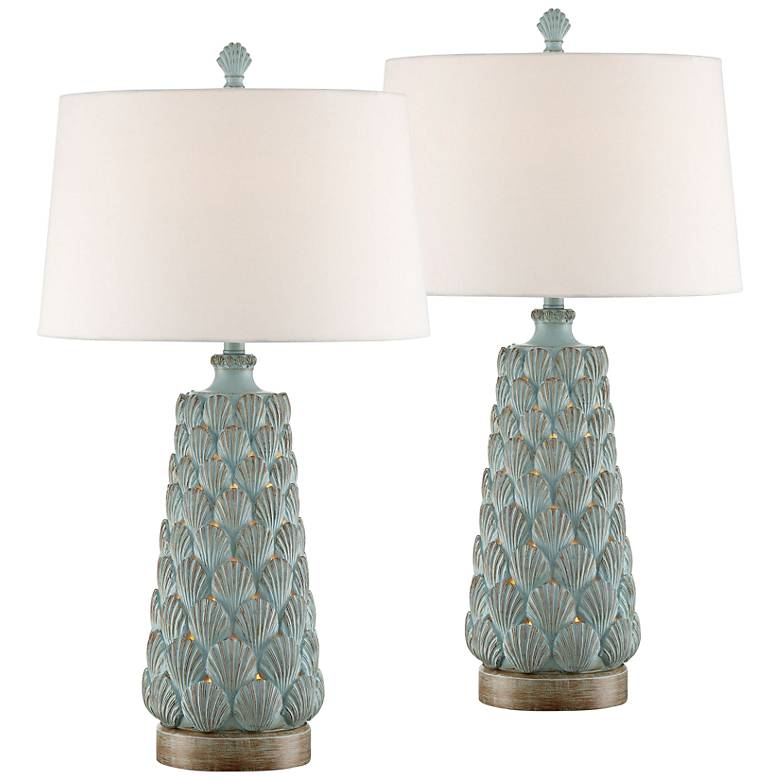 Harbor Island Blue Table Lamp with Night Light Set of 2