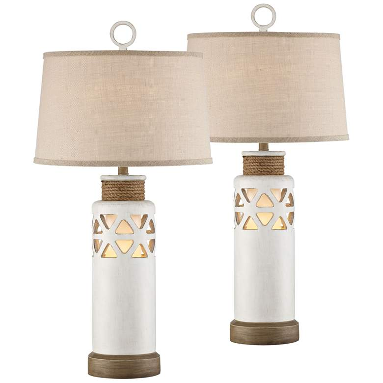 Cove Bay Antique White Night Light Table Lamps Set of 2