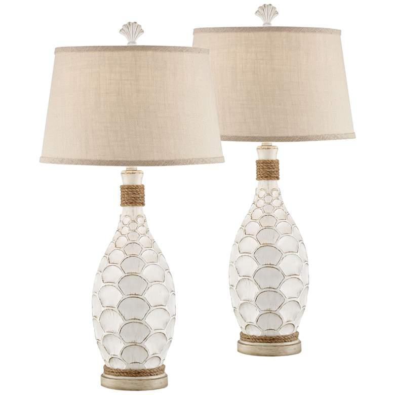 Eden Isle Coastal White Table Lamps Set of 2