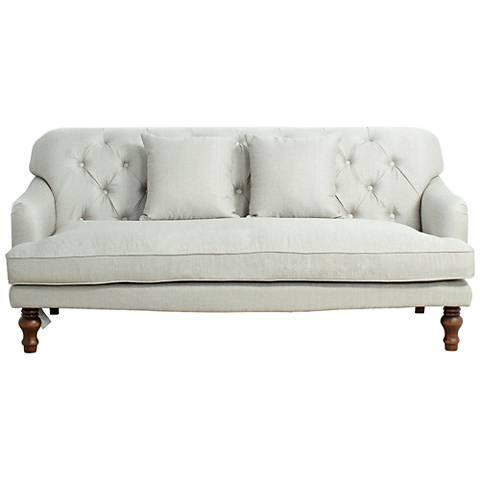 Carthage Silver Linen Fabric Tufted Sofa