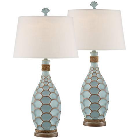 Eden Isle Glacier Blue Table Lamps Set of 2